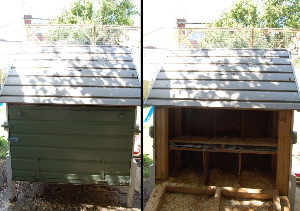 Split screen image of the chicken house closed and open