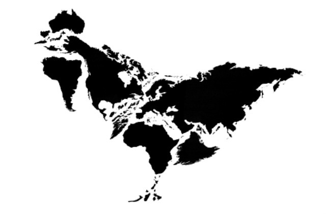 Kentaro Nagai's rearrangement of the continents to form a chicken